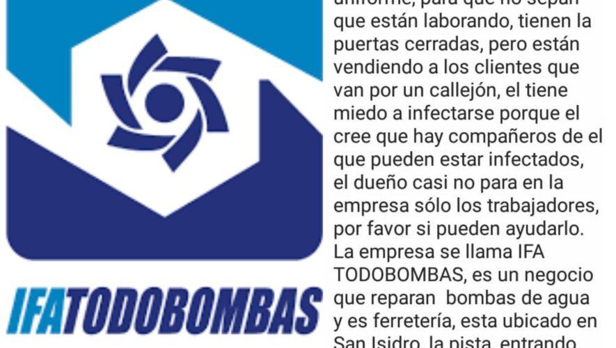 """Denuncianque la empresa """"IFA Todo Bombas"""" siguen laborando a pesar de no estar autorizados"""