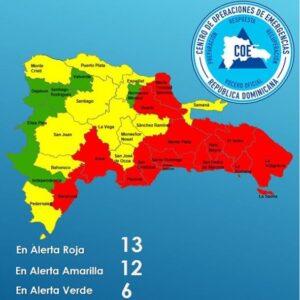 Aumenta a 13 el número de provincias en alerta roja por tormenta Isaías