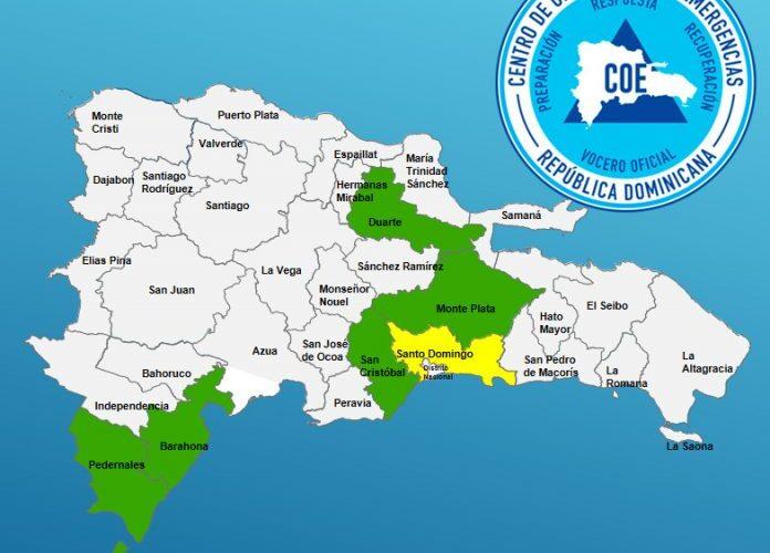 COE emite alerta amarilla y verde a varias provincias por posible inundaciones