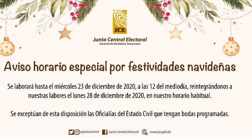 JCE informa horario de servicios por festividad navideña