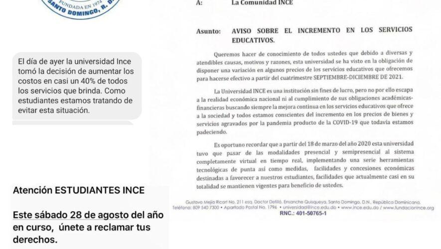 Estudiantes denuncian universidad INCE aumenta 40% en servicios educativos brindados